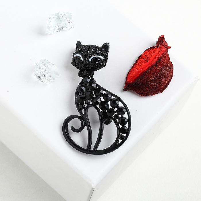 """Брошь """"Кошка"""" грациозная, цвет черный в черном металле"""