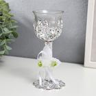 "Glass candle holder, plastic candle 1 ""Heartbeat"" a stemmed glass silver 14,5х6х6 cm"