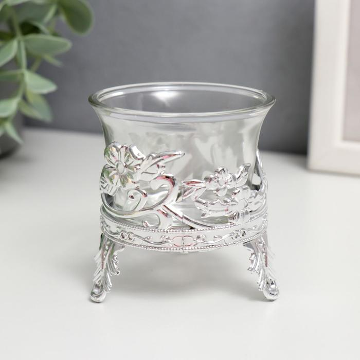 Подсвечник стекло, пластик на 1 свечу ''Цветочек'' серебро 6,5х6х6 см   4098218