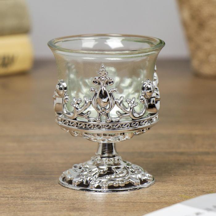 Подсвечник стекло, пластик на 1 свечу ''Вьюнок'' бокал на ножке серебро 7,5х6х6 см   4098216