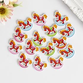"A set of buttons decorative wood ""rocking Horse"" set 15 PCs MIX 3x3 cm"