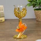 "Glass candle holder, plastic candle 1 ""Heartbeat"" a stemmed glass gold 14,5х6х6 cm"