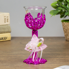 "Glass candle holder, plastic candle 1 ""Heartbeat"" a stemmed glass pink 14,5х6х6 cm"