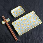 """Набор для суши """"Вкус"""", 4 предмета: блюдо 29,5х12 см, соусник 10х7,5 см, подставка 6х2 см, палочки"""