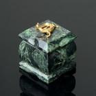 "Шкатулка ""Ящерка"", 5х5х7,5 см, змеевик"