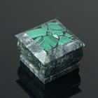 Шкатулка, 5х5х3,5 см, змеевик, малахит - фото 8881054