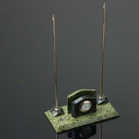 """Набор настольный """"Часы"""", 24х9,5х7 см, змеевик"""