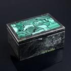 Box Chest, medium, 14х9,5x7 cm, serpentine, malachite