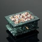 Шкатулка,с галтовкой,  выдвижной ящик, 12х11х6 см, змеевик