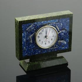 """Часы настольные """"Семафор"""", 15х5х13 см, змеевик, лазурит"""