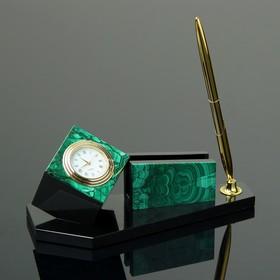 """Письменный набор """"Куб"""", 19х9х10 см, долерит, малахит"""