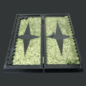 Нарды, с двухсторонней флорентийской мозаикой,  45х52х3 см, змеевик