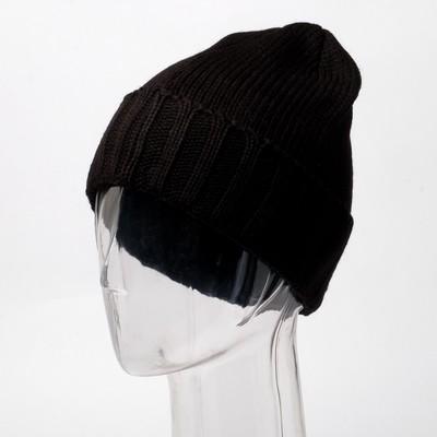 Шапка мужская, цвет чёрный, размер 56-58