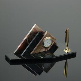 """Набор настольный """"Треугольник"""", с подставкой под ручку, 21х9х9 см, яшма, змеевик"""