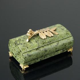 "Шкатулка ""Рябинка"", со съемной крышкой, 14,5х7,5х8 см, змеевик"
