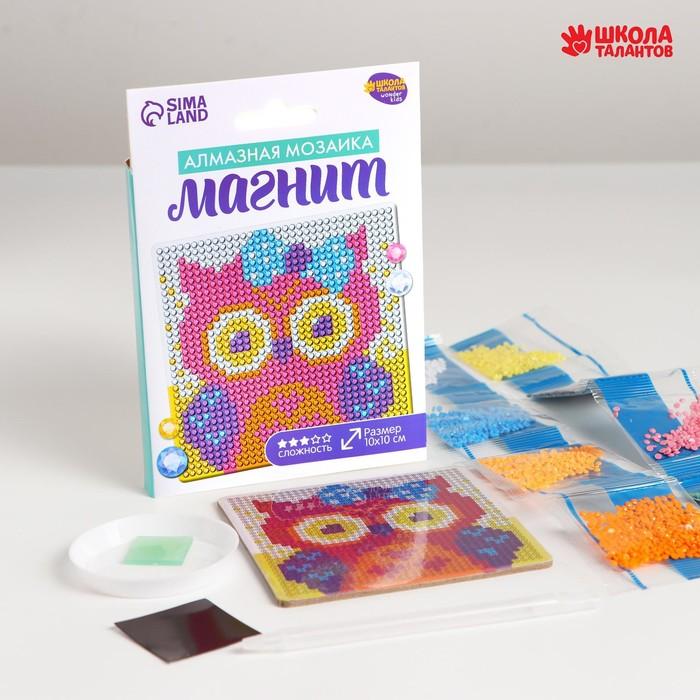 Набор для творчества. Алмазная мозаика магнит для детей «Совушка», 10 х 10 см + ёмкость, стержень, клеевая подушечка - фото 7308447