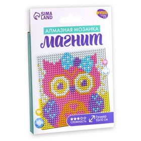Набор для творчества. Алмазная мозаика магнит для детей «Совушка», 10 х 10 см + ёмкость, стержень, клеевая подушечка - фото 7308448