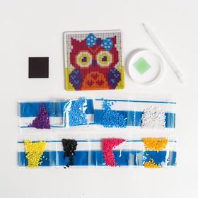 Набор для творчества. Алмазная мозаика магнит для детей «Совушка», 10 х 10 см + ёмкость, стержень, клеевая подушечка - фото 7308449