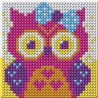 Набор для творчества. Алмазная мозаика магнит для детей «Совушка», 10 х 10 см + ёмкость, стержень, клеевая подушечка - фото 7308452
