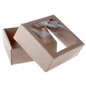Team box without printing cover-bottom brown with window 14.5 x 14.5 x 6 cm