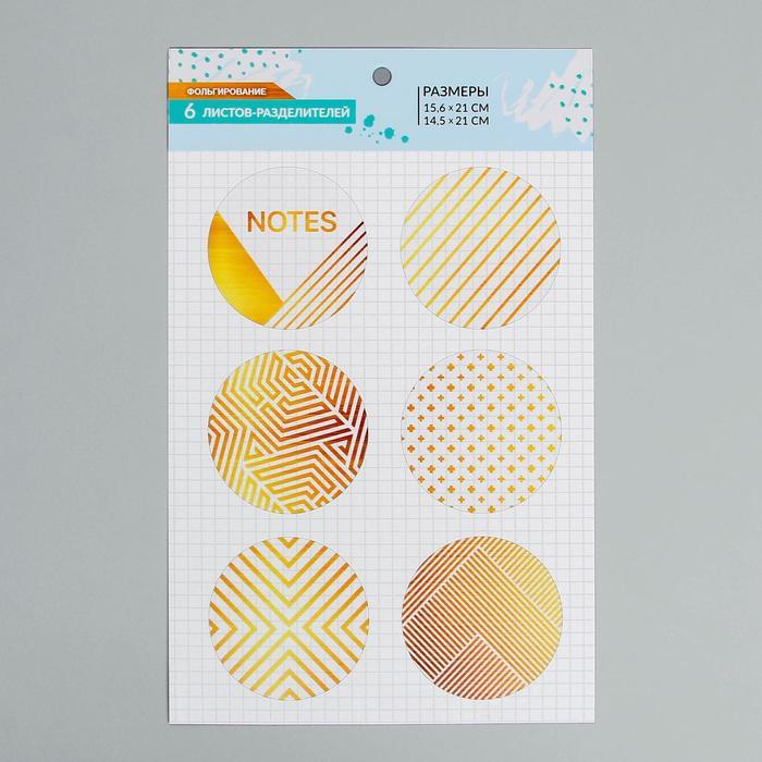 Набор ацетатных разделителей для планера «Крафт», 16 × 25 см, 6 листов