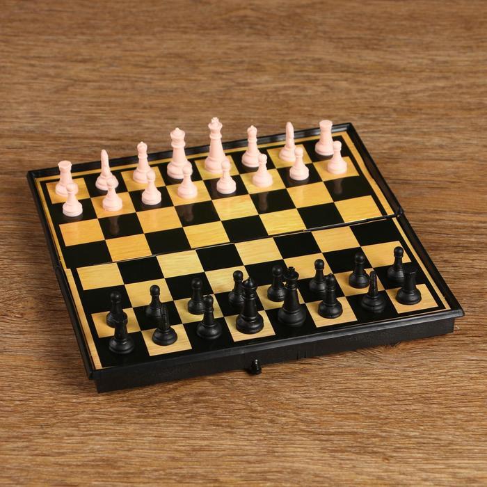 Игра настольная 3 в 1: шашки, шахматы, нарды, поле 19 × 19 см, в коробке