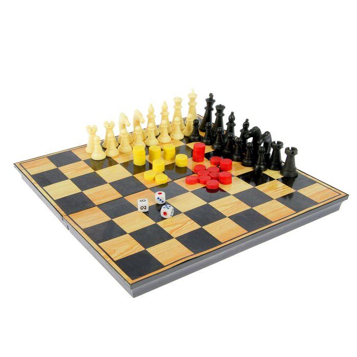 """Настольная игра набор 3 в 1 """"Атели"""": шашки, шахматы, нарды доска пластик 25х25см"""