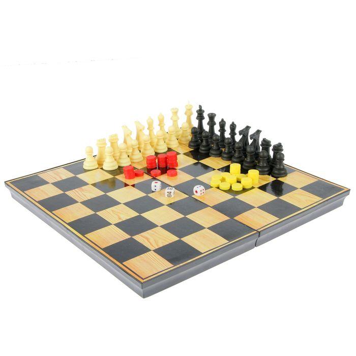 """Настольная игра 2 в 1 """"Атели"""": нарды, шахматы, доска пластик 30х30 см"""
