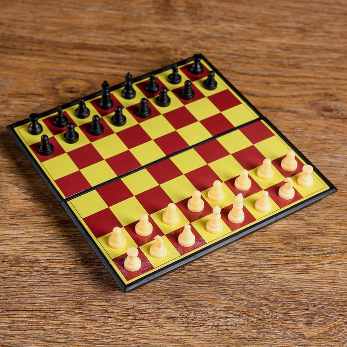 "Настольная игра 2 в 1 ""Баталия"": шашки, шахматы,  доска пластик 16.5х16.5см"