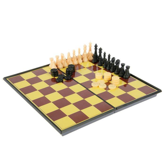 Игра настольная 3 в 1 Chess Set: шашки, шахматы, шахматы-шашки, в коробке