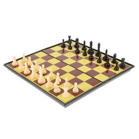"Настольная игра набор 2 в 1 ""Баталия"": шашки, шахматы,  доска пластик 20х20см"