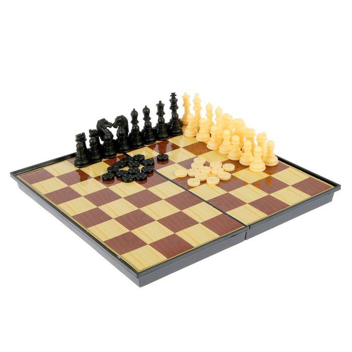 Игра настольная 2 в 1: шашки, шахматы, коричнево-бежевая доска 26 × 26 см, в коробке