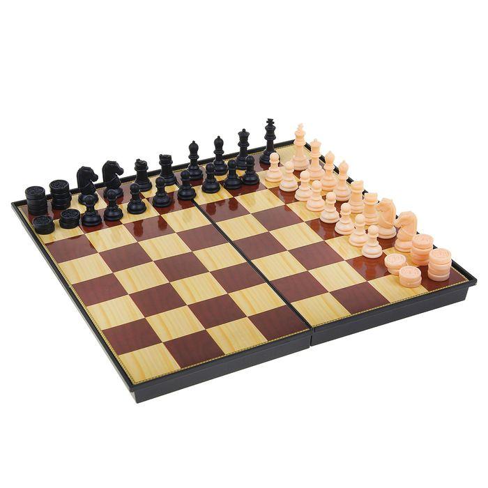 Игра настольная 2 в 1: шашки, шахматы, поле 31 × 31 см, в пластиковой коробке