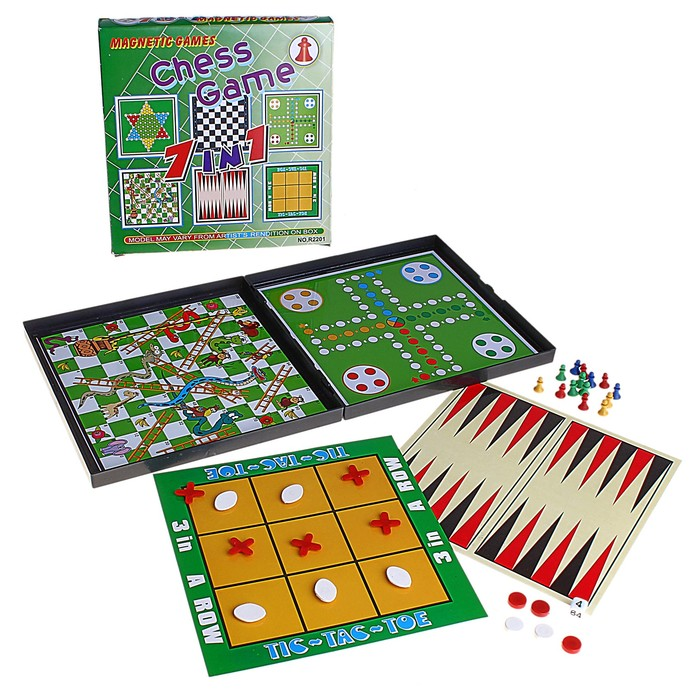 Игра настольная 7 в 1, магнитная: шахматы, шашки, нарды, крестики-нолики, змея и лестницы, китайские шашки, лудо