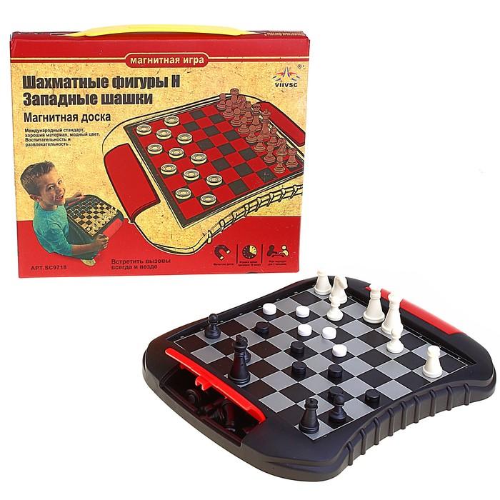 Игра настольная 2 в 1: шахматы и западные шашки, магнитные, в коробке