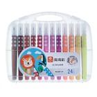 Фломастеры, 24 цвета, в пластиковом пенале, с кистеобразным наконечником, «Дикие животные»