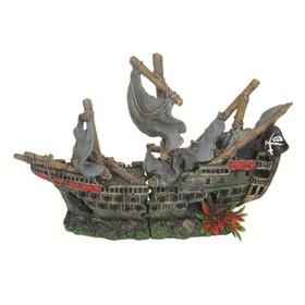 Декорация пластиковая PRIME «Затонувший парусник малый», 25x10.5x17 см
