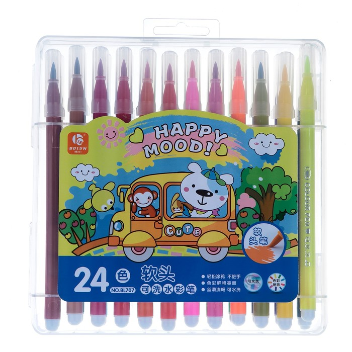 Фломастеры, 24 цвета, в пластиковом пенале, с кистеобразным наконечником, «Хорошее настроение»