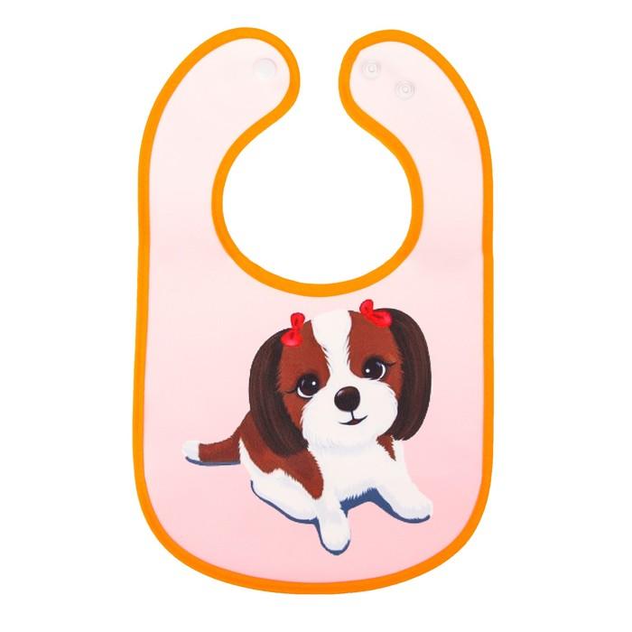 Нагрудник «Собачка Элли», непромокаемый, на кнопках, с карманом