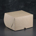 Упаковка для капкейков на 4 шт, без окна, крафт 16 х 16 х 10 см - фото 308035670