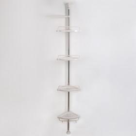 Полка 4-х ярусная раздвижная, 100(260)×33,5×21,5 см, цвет белый
