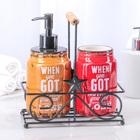 """Набор для кухни на подставке """"Форест"""", 2 шт: дозатор для моющего средства 500мл, стаканчик, цвет МИКС"""