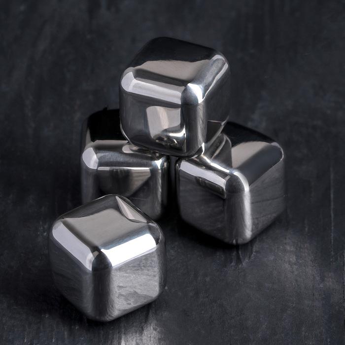 Набор камней для виски «Куб», 4 шт, 2,5×2,5 см, нержавеющая сталь