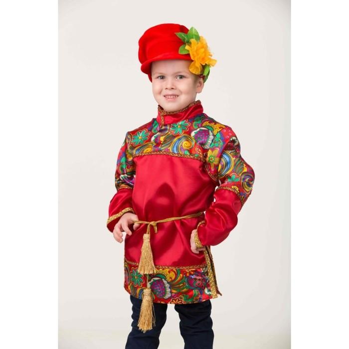 Карнавальный костюм «Емеля» красный, сорочка, головной убор, р.30, рост 116 см