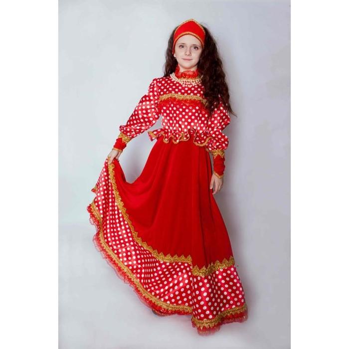 Платье карнавальное «Любава», платье, кокошник, р.34, рост 134 см
