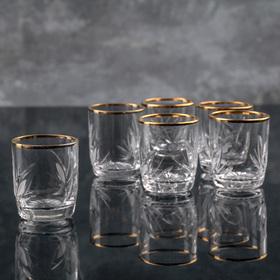 Набор стаканов для вина НЕМАН «Цветок» отводка золотом, 35 мл, 6 шт
