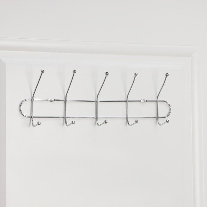 Вешалка настенная на 5 двойных крючков «Блеск», 39,5×7×10 см, цвет серебро - фото 4641405