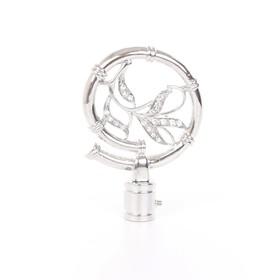Наконечник «Бамбук», 2 шт, d=16 мм, цвет серебро глянец