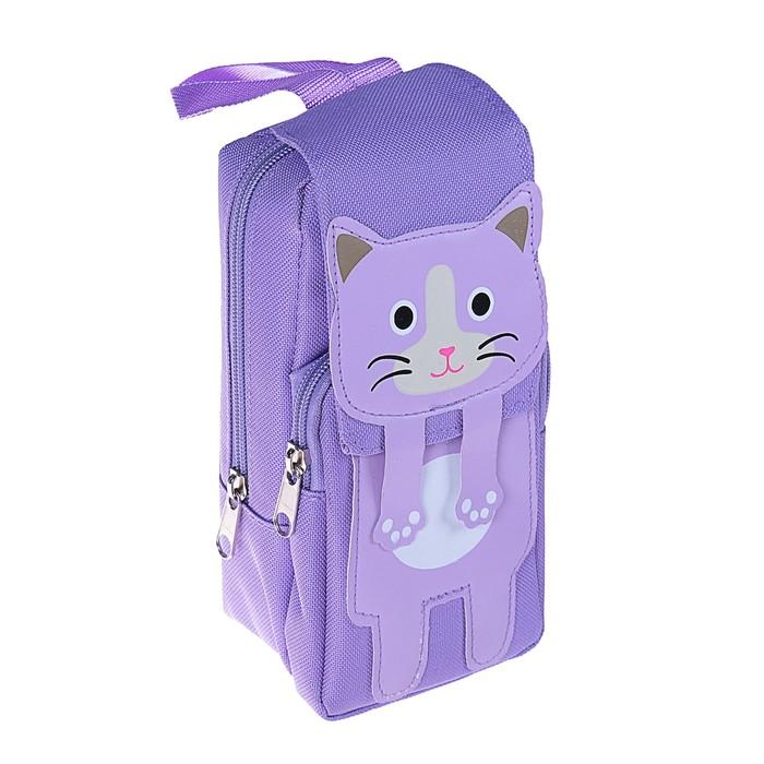 Пенал школьный «Рюкзачок с кошкой», на молнии, МИКС - фото 440959983