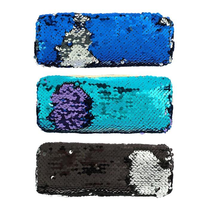 Пенал школьный «Пайетки двухцветные», на молнии, МИКС - фото 798167392